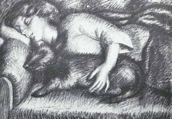 Jacek Mierzejewski Śpiąca kobieta z pieskiem